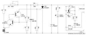 принципиальная схема регулятора мощности с индикатором